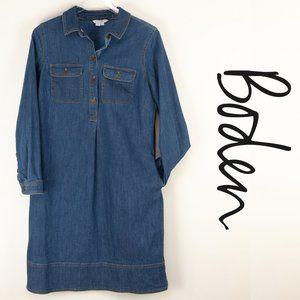 Boden Lola Denim Shirt Dress 8 Long